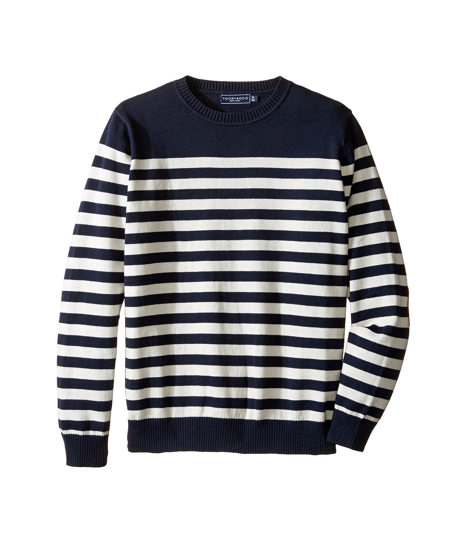 Toobydoo - Mr Handsome Crew Neck Sweater (Toddler/Little Kids/Big Kids) (Navy/White/Suede Pocket) Boy's Sweater
