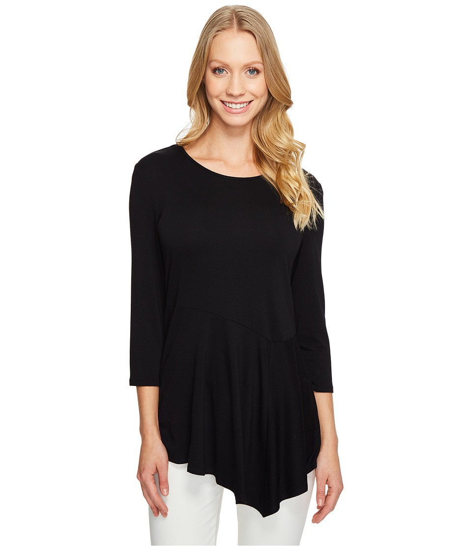 Vince Camuto - 3/4 Sleeve Asymmetrical Panel Hem Top (Rich Black) Women's Clothing