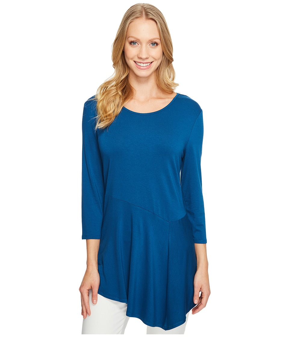 Vince Camuto - 3/4 Sleeve Asymmetrical Panel Hem Top (Port Blue) Women's Clothing