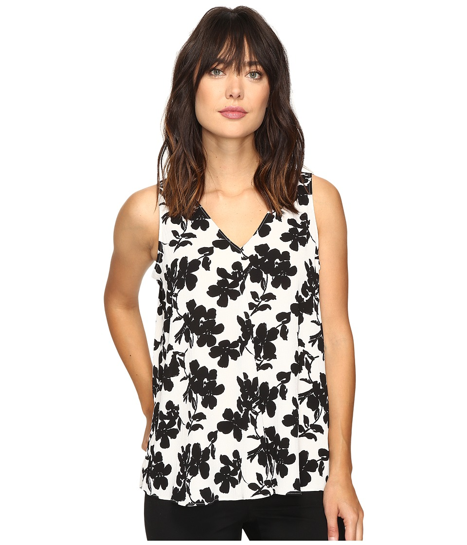 Vince Camuto - Sleeveless Small Fresco Blooms Drape Front Blouse (New Ivory) Women's Blouse