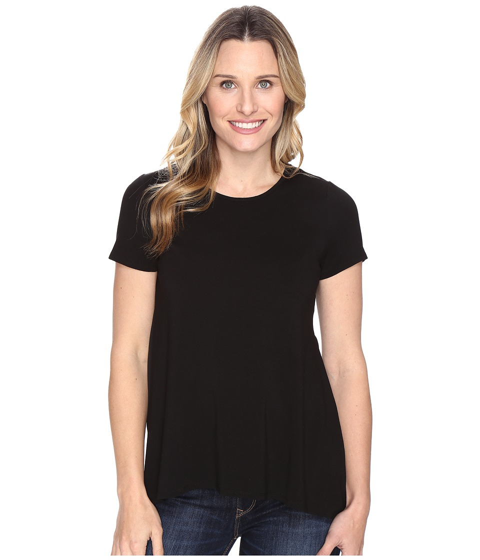 Vince Camuto - Short Sleeve High-Low Hem Top with Woven Back (Rich Black) Women's Clothing