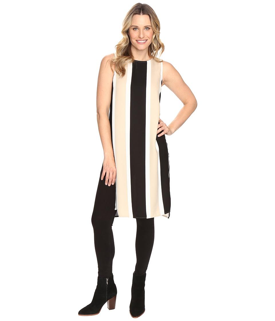 Vince Camuto - Sleeveless Deco Bold Stripe Tunic w/ Side Slits (Tiramisu) Women's Blouse