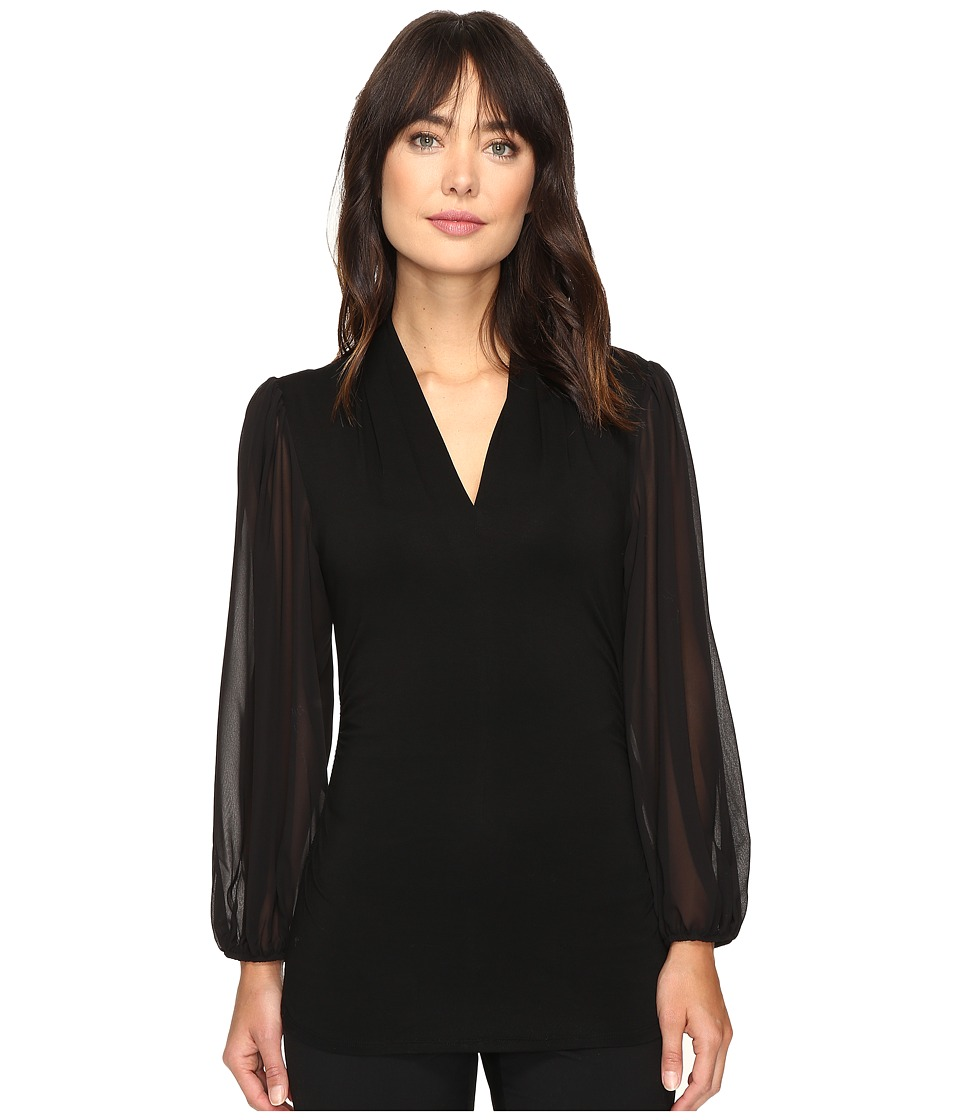 Vince Camuto - Chiffon Sleeve Split V-Neck Top (Rich Black) Women's Clothing