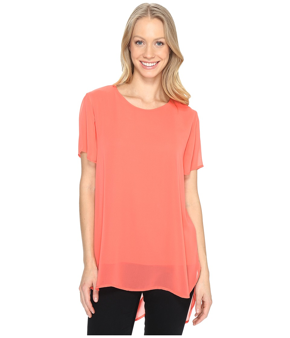 Vince Camuto - Short Sleeve Crew Neck Chiffon Overlay Blouse (Coral Passion) Women's Blouse