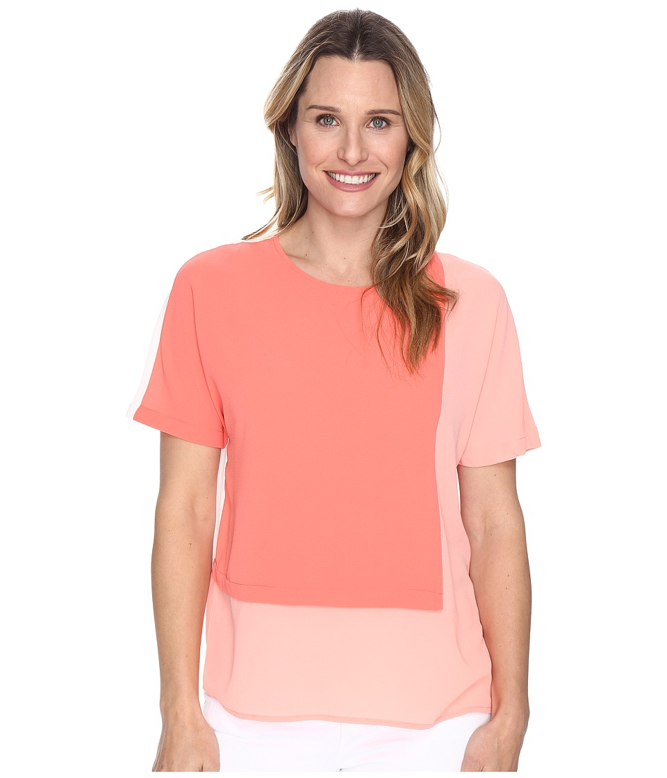 Vince Camuto - Extend Shoulder Color Blocked Blouse (Coral Passion) Women's Blouse