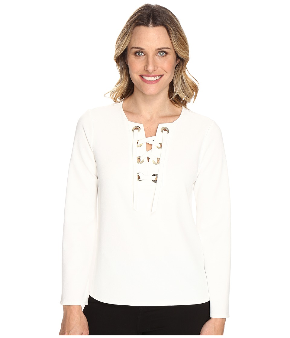Vince Camuto - Bell Sleeve Lace-Up Ponte Blouse (New Ivory) Women's Blouse