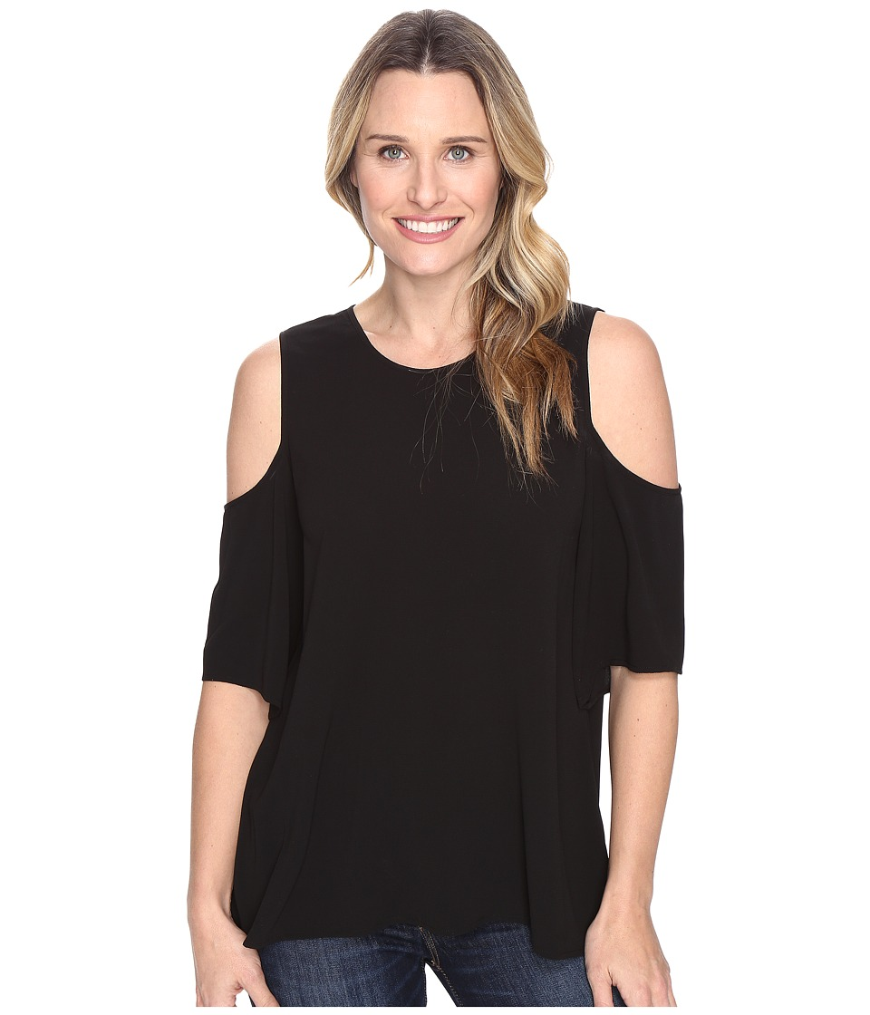 Vince Camuto - Short Sleeve Cold-Shoulder High-Low Hem Blouse (Rich Black) Women's Blouse