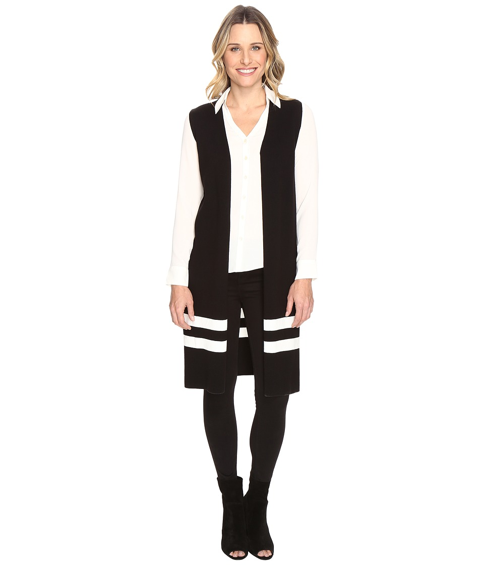 Vince Camuto - Sleeveless Milano Stripe Open Front Cardigan (Rich Black) Women's Sweater