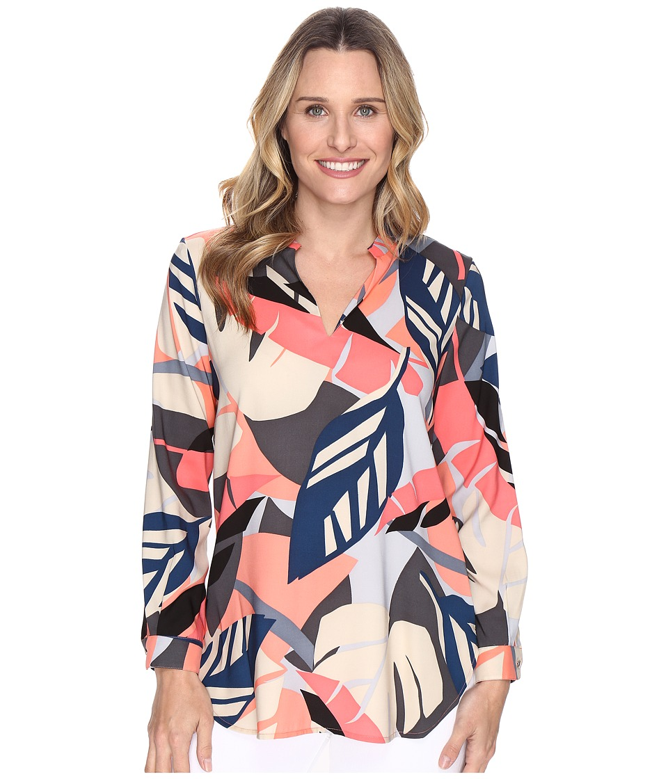 Vince Camuto - Long Sleeve Modern Tropics V-Neck Tunic (Coral Passion) Women's Blouse