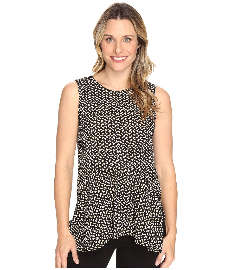 Vince Camuto - Sleeveless Deco Layer Dots Ruffle Front Blouse (Rich Black) Women's Blouse