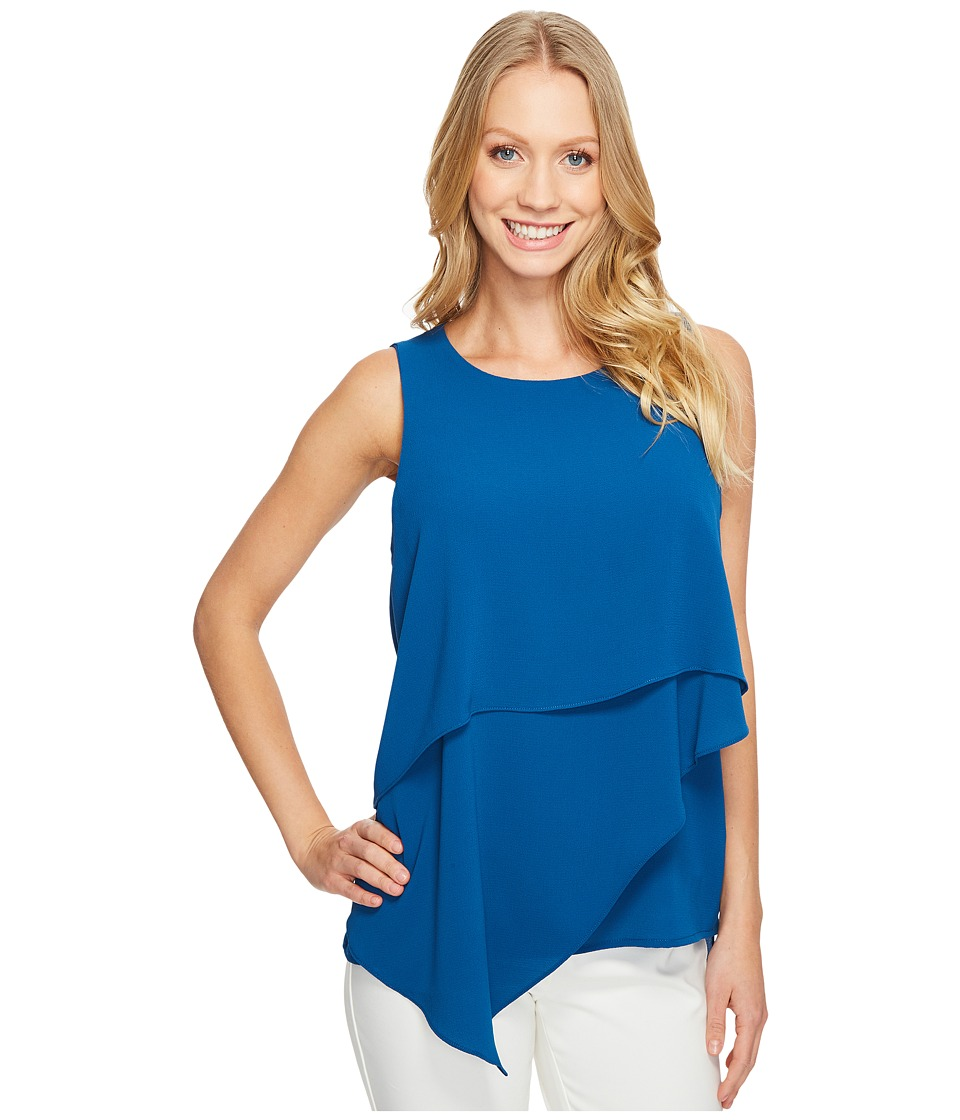 Vince Camuto - Sleeveless Asymmetrical Layered Blouse (Port Blue) Women's Blouse