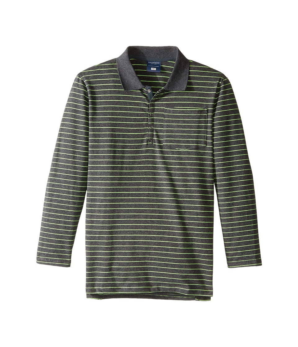 Toobydoo - Green Stripe Long Sleeve Polo (Toddler/Little Kids/Big Kids) (Navy/Emerald Green) Boy's Long Sleeve Pullover