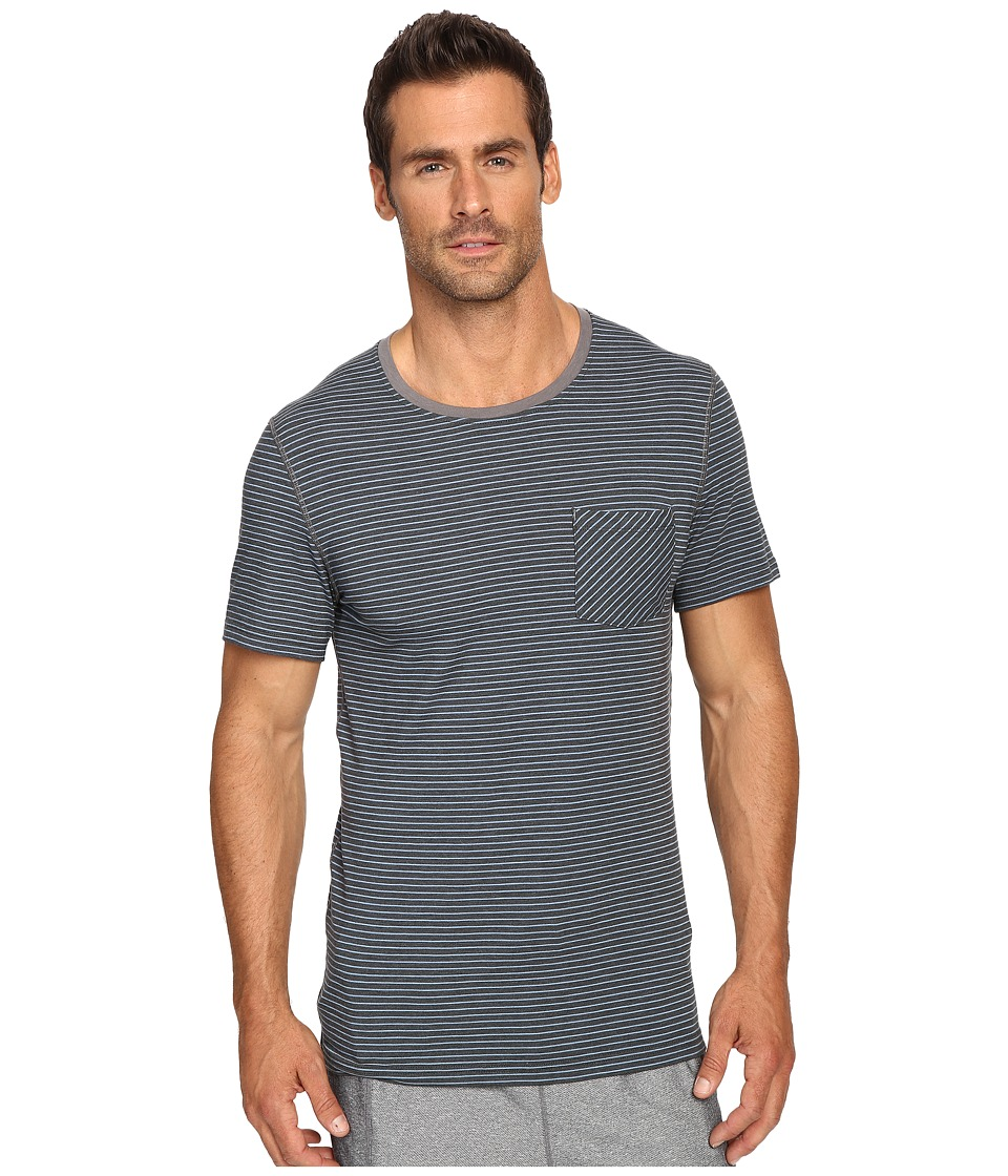 Manduka - Transcend T-Shirt Stripe (Sediment/Shadow Blue) Men's T Shirt