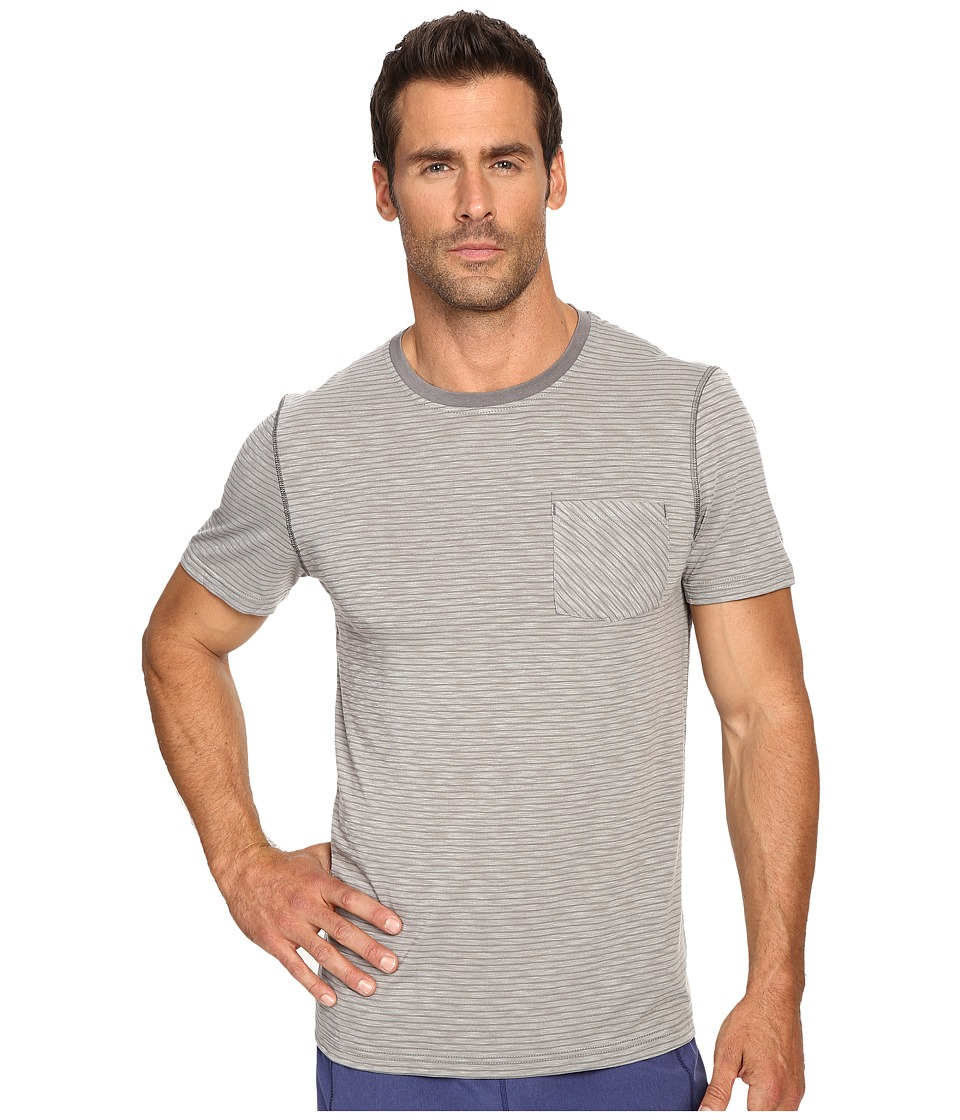 Manduka - Transcend T-Shirt Stripe (Cement/Thunder) Men's T Shirt