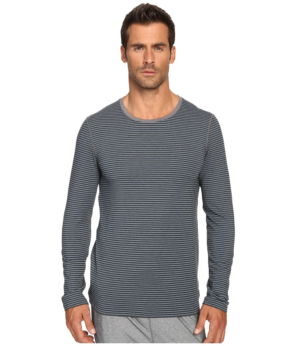Manduka - Transcend Stripe Long Sleeve T-Shirt (Sediment/Shadow Blue) Men's T Shirt