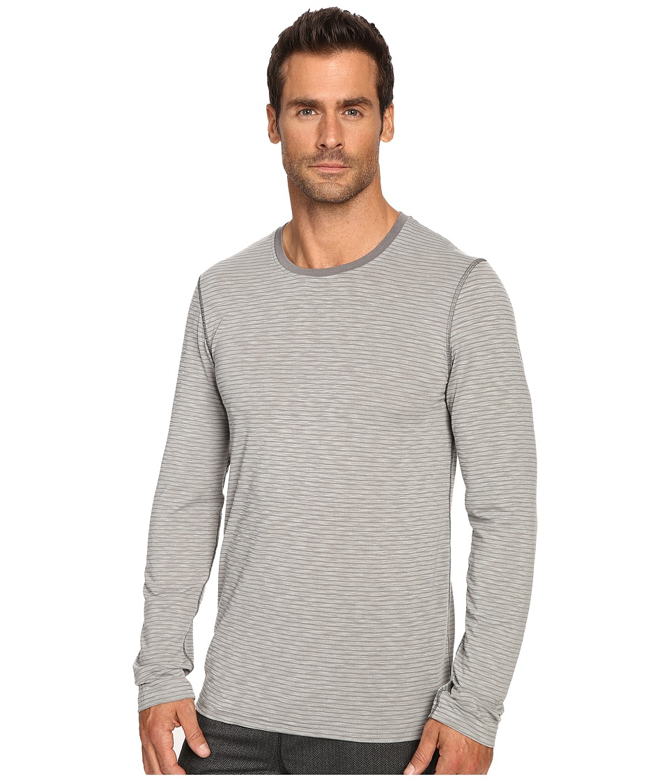 Manduka - Transcend Stripe Long Sleeve T-Shirt (Cement/Thunder) Men's T Shirt