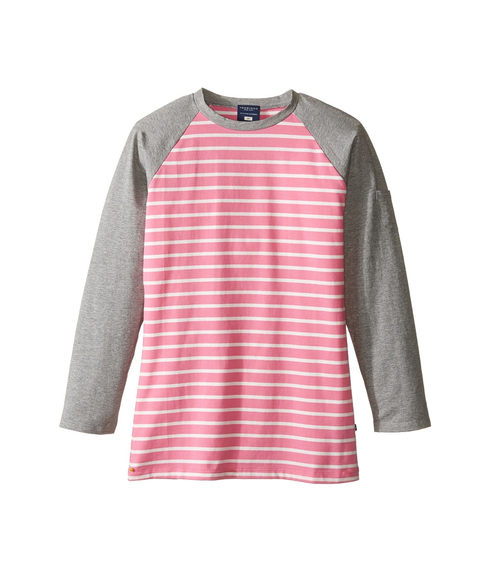 Toobydoo - Pink Long Sleeve Tee (Toddler/Little Kids/Big Kids) (Pink/White) Girl's Clothing