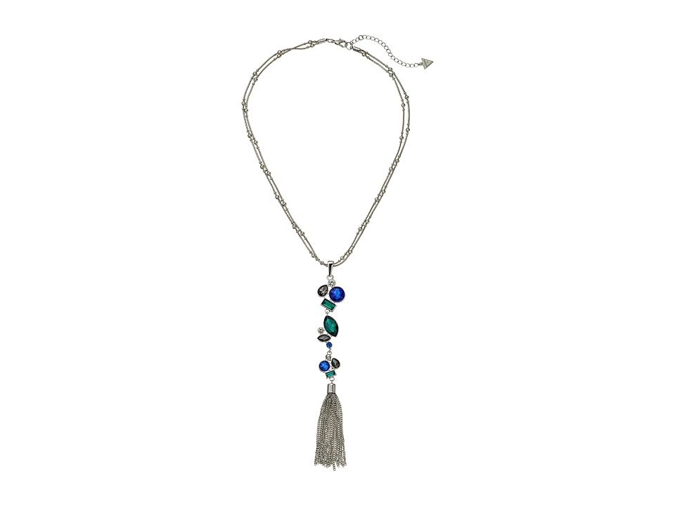 GUESS - Multi Stone Y Necklace with Tassel Necklace (Silver/Light Sapphire/Crystal) Necklace
