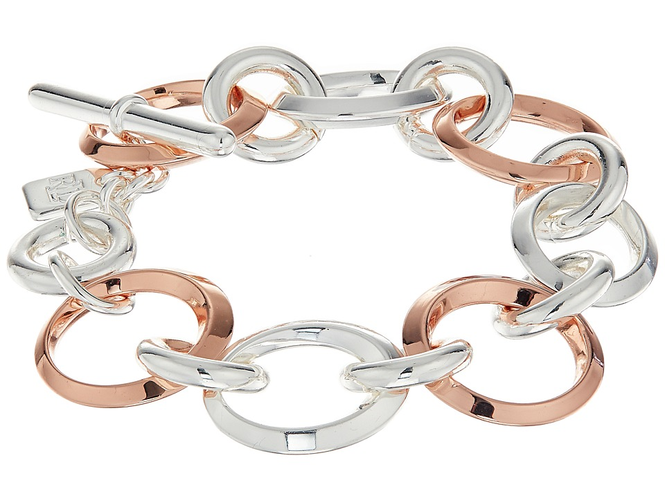 LAUREN Ralph Lauren - Rose Chic 7 1/2 Oval Knife Edge Link Bracelet (Silver/Rose Gold) Bracelet