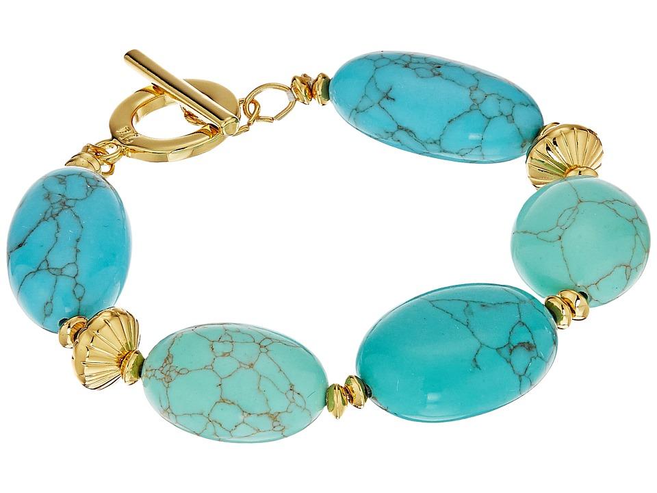 LAUREN Ralph Lauren - Paradise Found 7 1/2 Turquoise Nugget Bead Bracelet (Turquoise/Gold) Bracelet