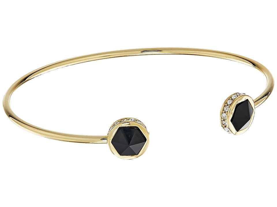 LAUREN Ralph Lauren - Match Point Faceted Stone Cuff Bracelet (Gold/Crystal/Black) Bracelet