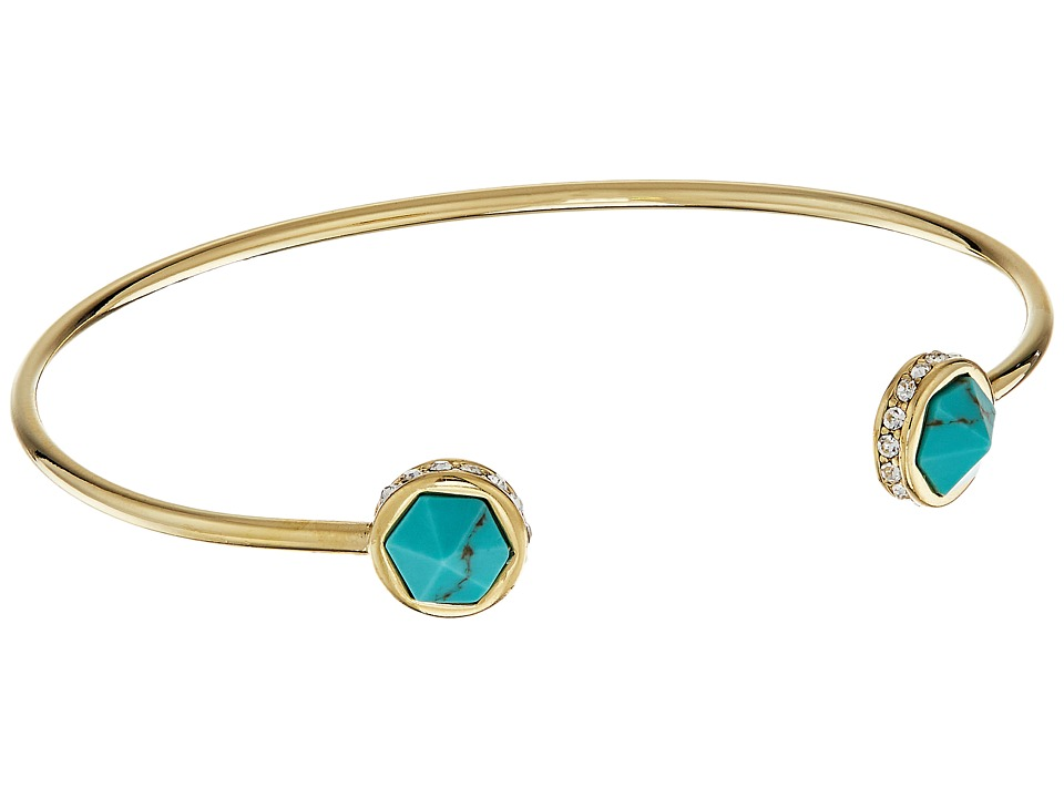 LAUREN Ralph Lauren - Match Point Faceted Stone Cuff Bracelet (Gold/Crystal/Turquoise) Bracelet