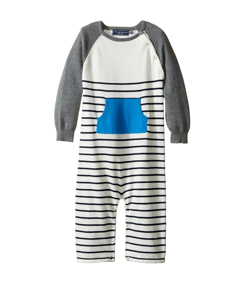 Toobydoo - Blue Pocket Sweater Knit Jumpsuit (Infant) (Navy/White/Gray/Blue Pocket) Boy's Jumpsuit & Rompers One Piece