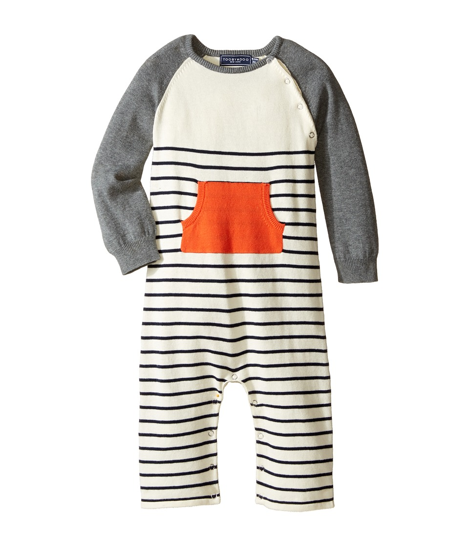 Toobydoo - Orange Pocket Sweater Knit Jumpsuit (Infant) (Navy/White/Gray/Orange Pocket) Boy's Jumpsuit & Rompers One Piece