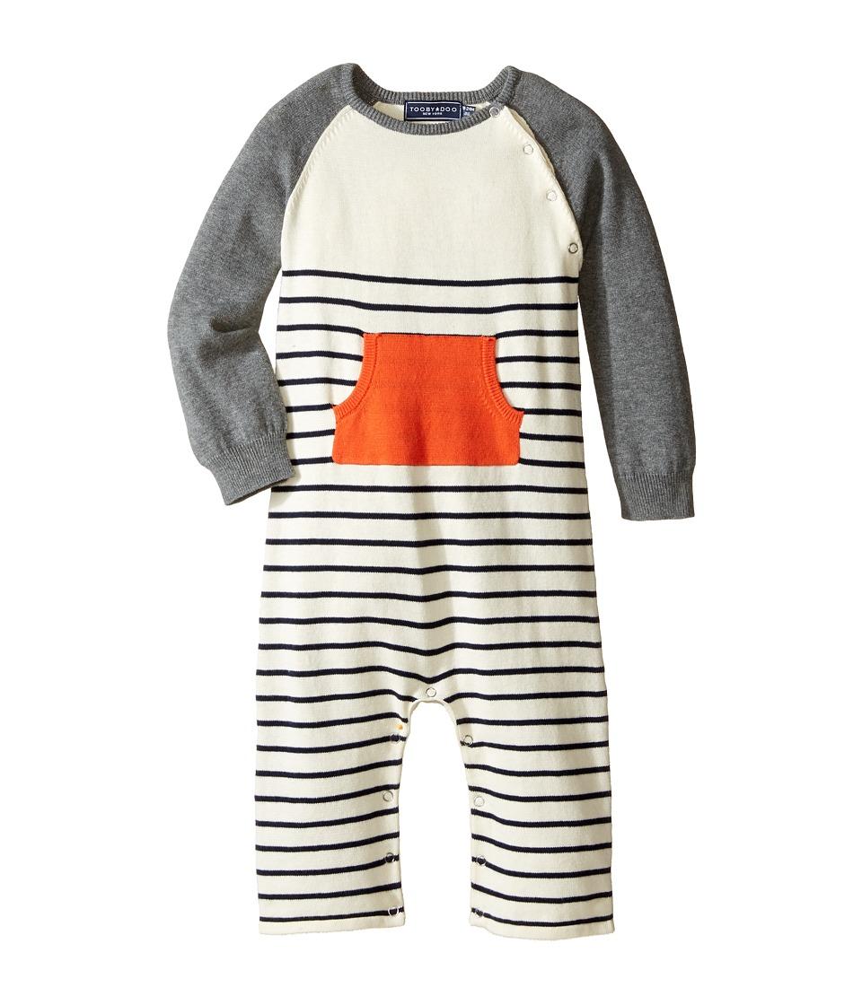 Toobydoo - Orange Pocket Sweater Knit Jumpsuit (Infant) (Navy/White/Gray/Orange Pocket) Boy's Jumpsuit & Rompers One Piece