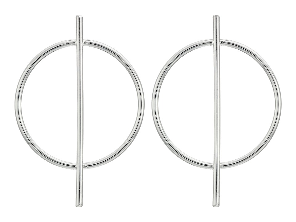 LAUREN Ralph Lauren - City Chic Silver Metal Circle Bar Earrings (Silver) Earring