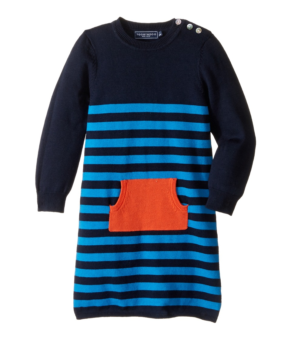 Toobydoo - Sweater Dress (Infant/Toddler) (Navy/Blue/Orange Pocket) Girl's Dress