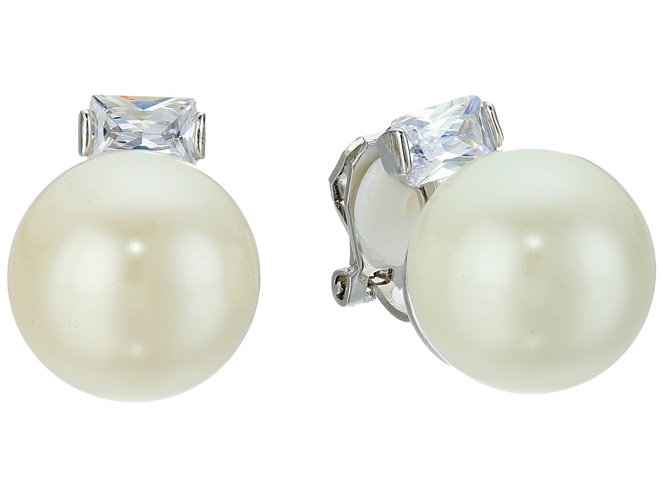 LAUREN Ralph Lauren - Downtown Modern 14mm Pearl CZ Clip Earrings (White Pearl/Silver/Crystal) Earring