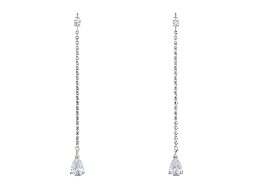 LAUREN Ralph Lauren - Downtown Modern Silver Crystal Linear Chain Stone Earrings (Silver/Crystal) Earring