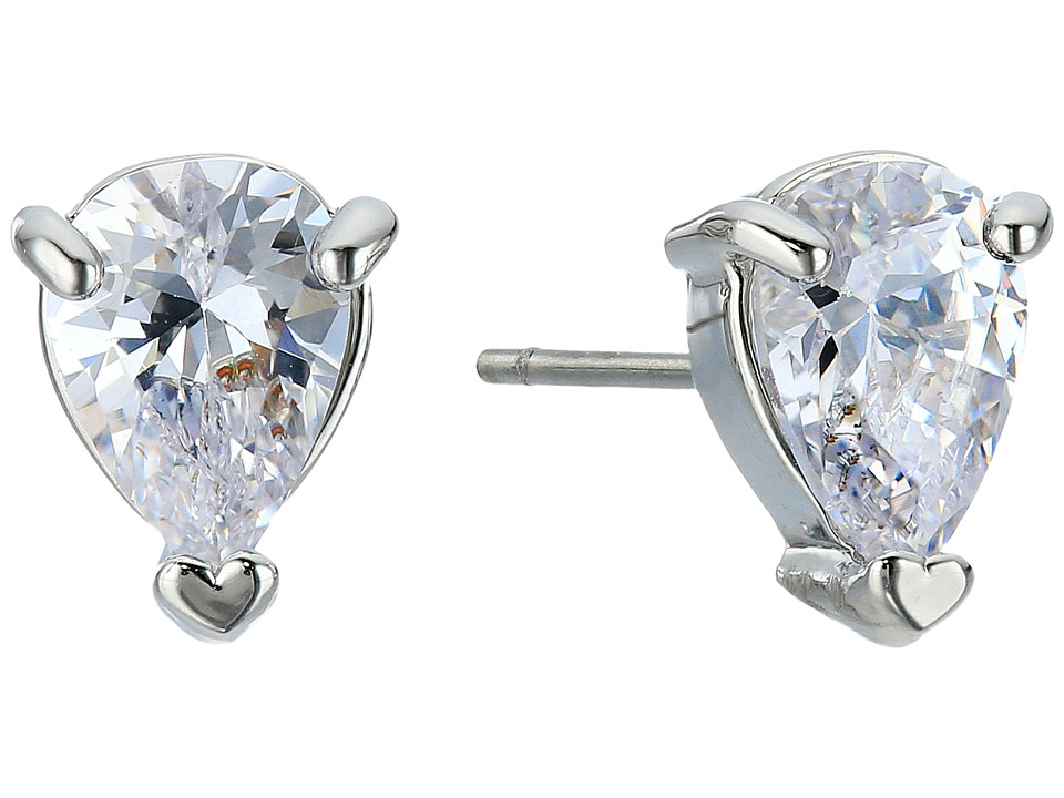 LAUREN Ralph Lauren - Downtown Modern Silver Crystal Pear Shape Stud Earrings (Silver/Crystal) Earring