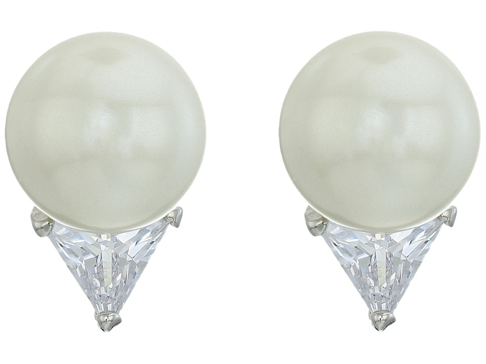 LAUREN Ralph Lauren - Downtown Modern 8mm Pearl Crystal Trillion Stud Earrings (White Pearl/Silver/Crystal) Earring