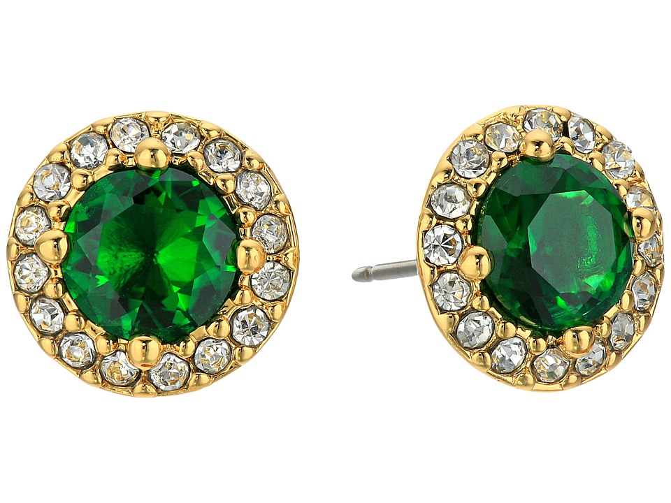 LAUREN Ralph Lauren - Treasure Trove Small Stone Stud Earrings (Green/Crystal/Gold) Earring
