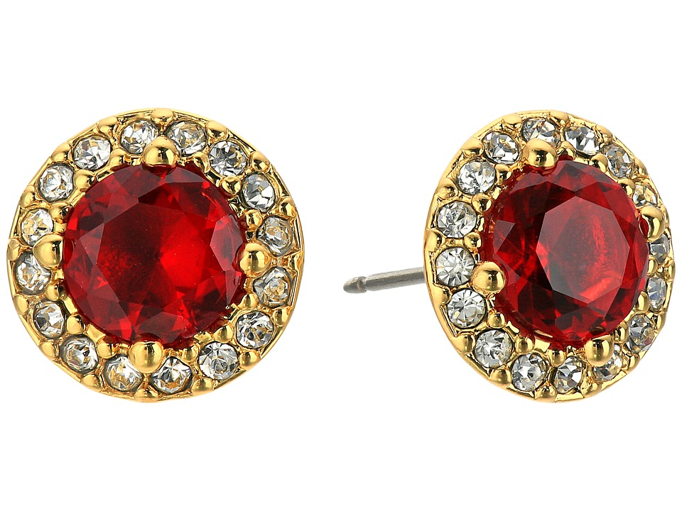 LAUREN Ralph Lauren - Treasure Trove Small Stone Stud Earrings (Red/Crystal/Gold) Earring