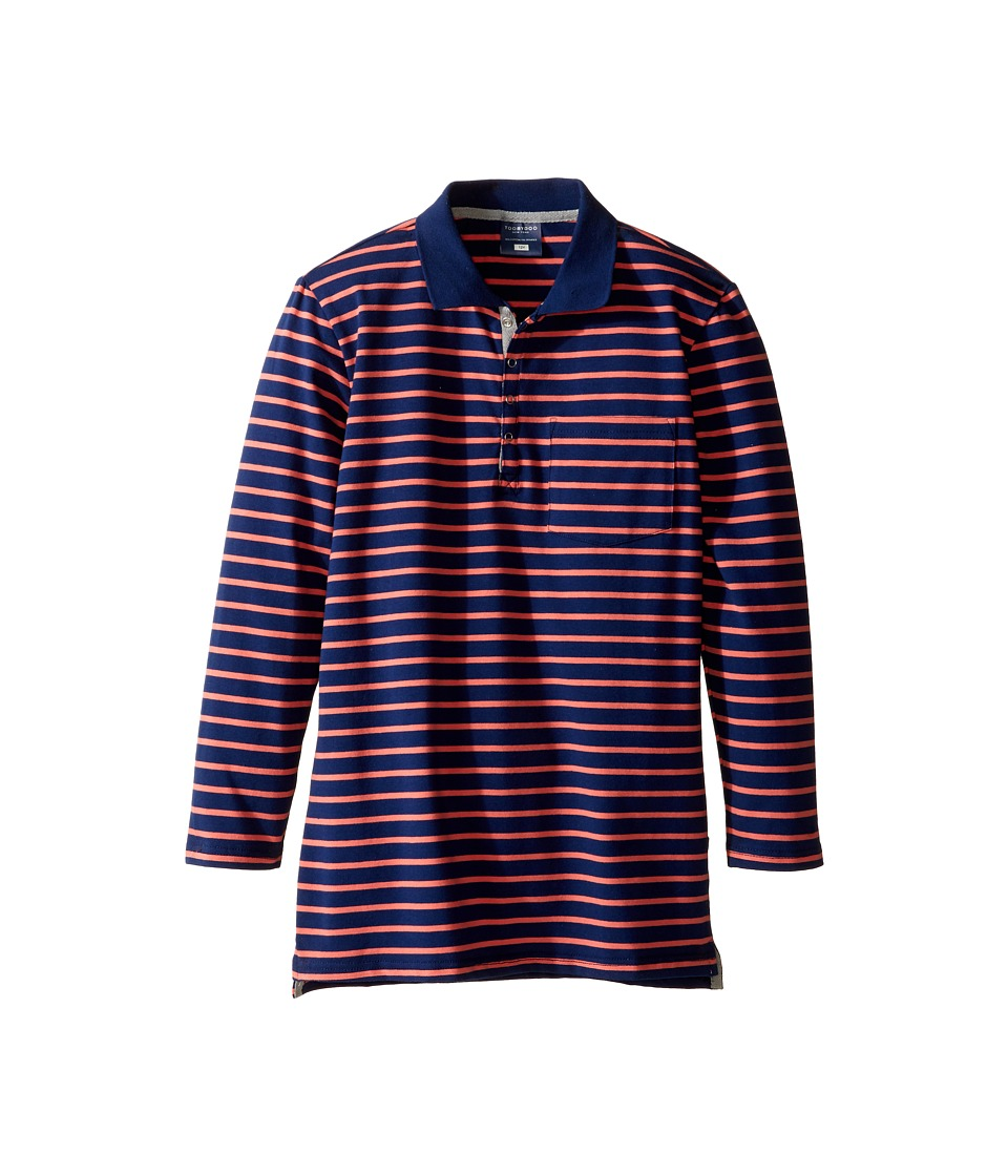 Toobydoo - Cameron Long Sleeve Polo (Toddler/Little Kids/Big Kids) (Navy/Orange) Boy's Clothing