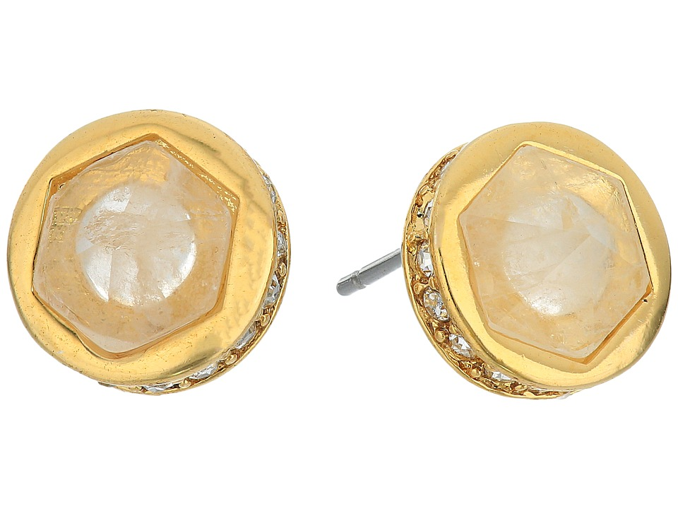 LAUREN Ralph Lauren - Match Point Round Stone Stud Earrings (Crystal/Gold) Earring