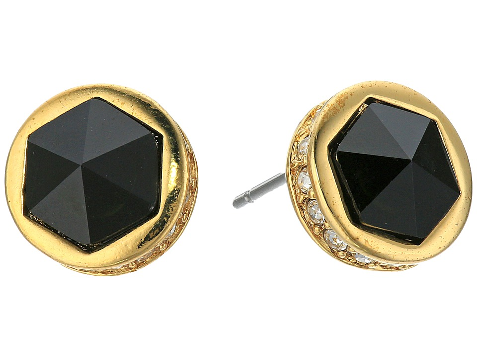 LAUREN Ralph Lauren - Match Point Round Stone Stud Earrings (Gold/Crystal/Black) Earring