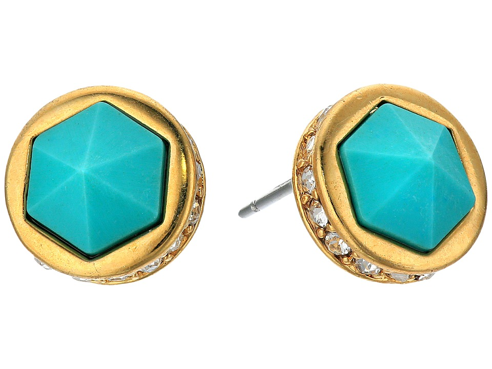 LAUREN Ralph Lauren - Match Point Round Stone Stud Earrings (Gold/Crystal/Turquoise) Earring