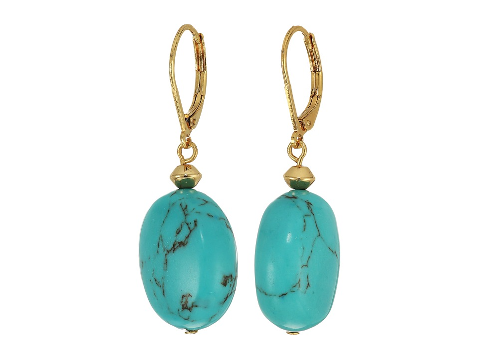 LAUREN Ralph Lauren - Paradise Found Turquoise Nugget Drop Earrings (Turquoise/Gold) Earring