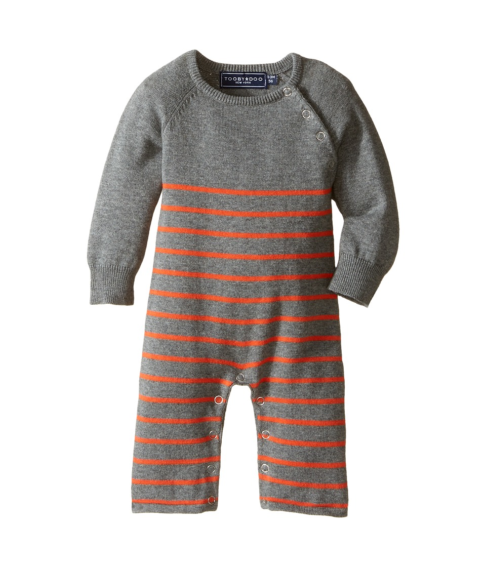 Toobydoo - Mr Orange Sweater Knit Jumpsuit (Infant) (Heather Gray/Orange Stripe) Boy's Jumpsuit & Rompers One Piece