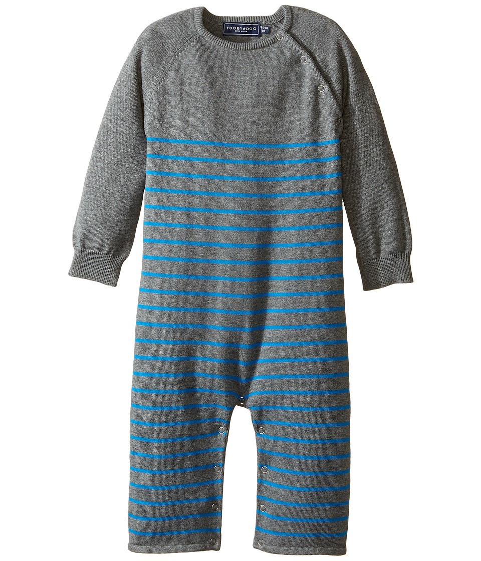 Toobydoo - Mr Blue Sweater Knit Jumpsuit (Infant) (Heather Gray/Blue Stripe) Boy's Jumpsuit & Rompers One Piece