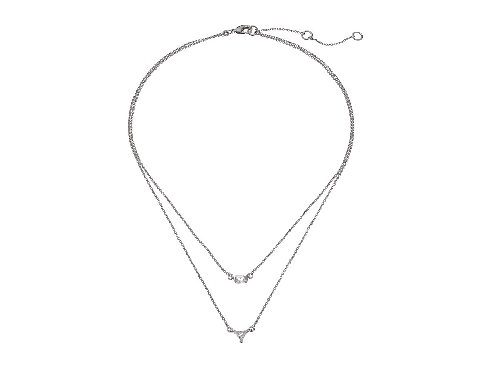 LAUREN Ralph Lauren - Downtown Modern Two Row Faceted Stone Pendant Necklace (Silver/Crystal) Necklace