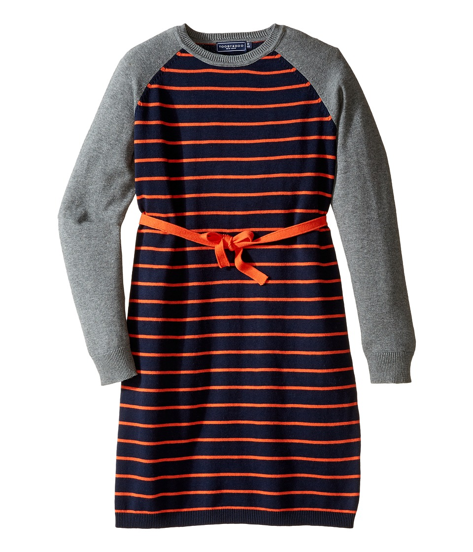 Toobydoo - Stephanie Belted Sweater Dress (Toddler/Little Kids/Big Kids) (Gray/Navy/Orange) Girl's Dress