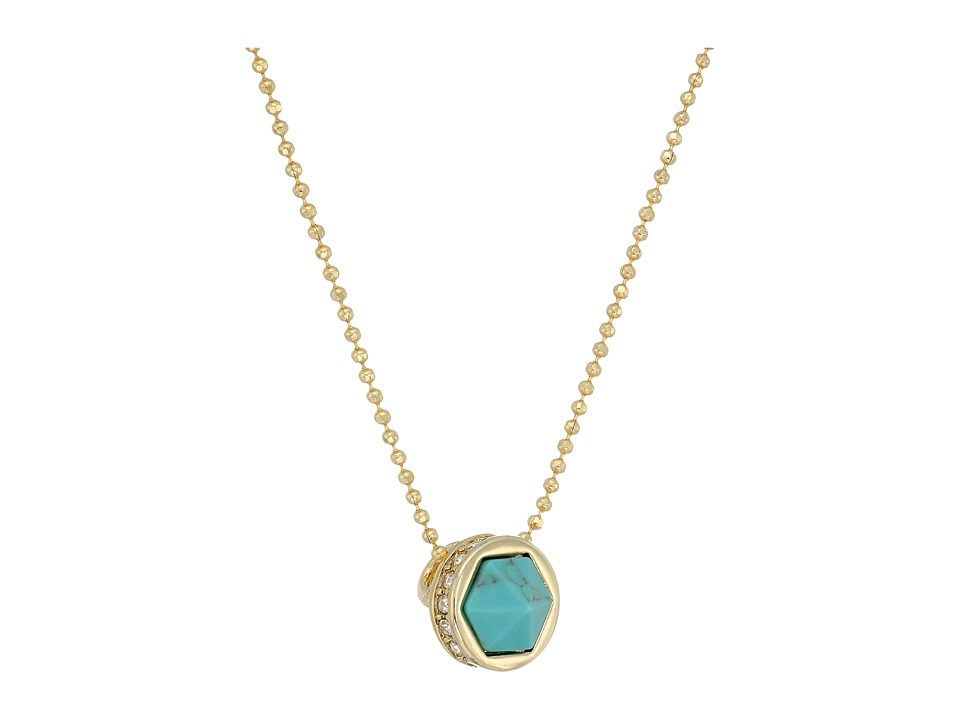 LAUREN Ralph Lauren - Match Point 16 Faceted Stone Pendant Necklace (Gold/Crystal/Turquoise) Necklace