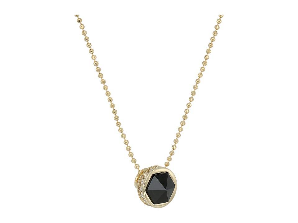 LAUREN Ralph Lauren - Match Point 16 Faceted Stone Pendant Necklace (Gold/Crystal/Black) Necklace