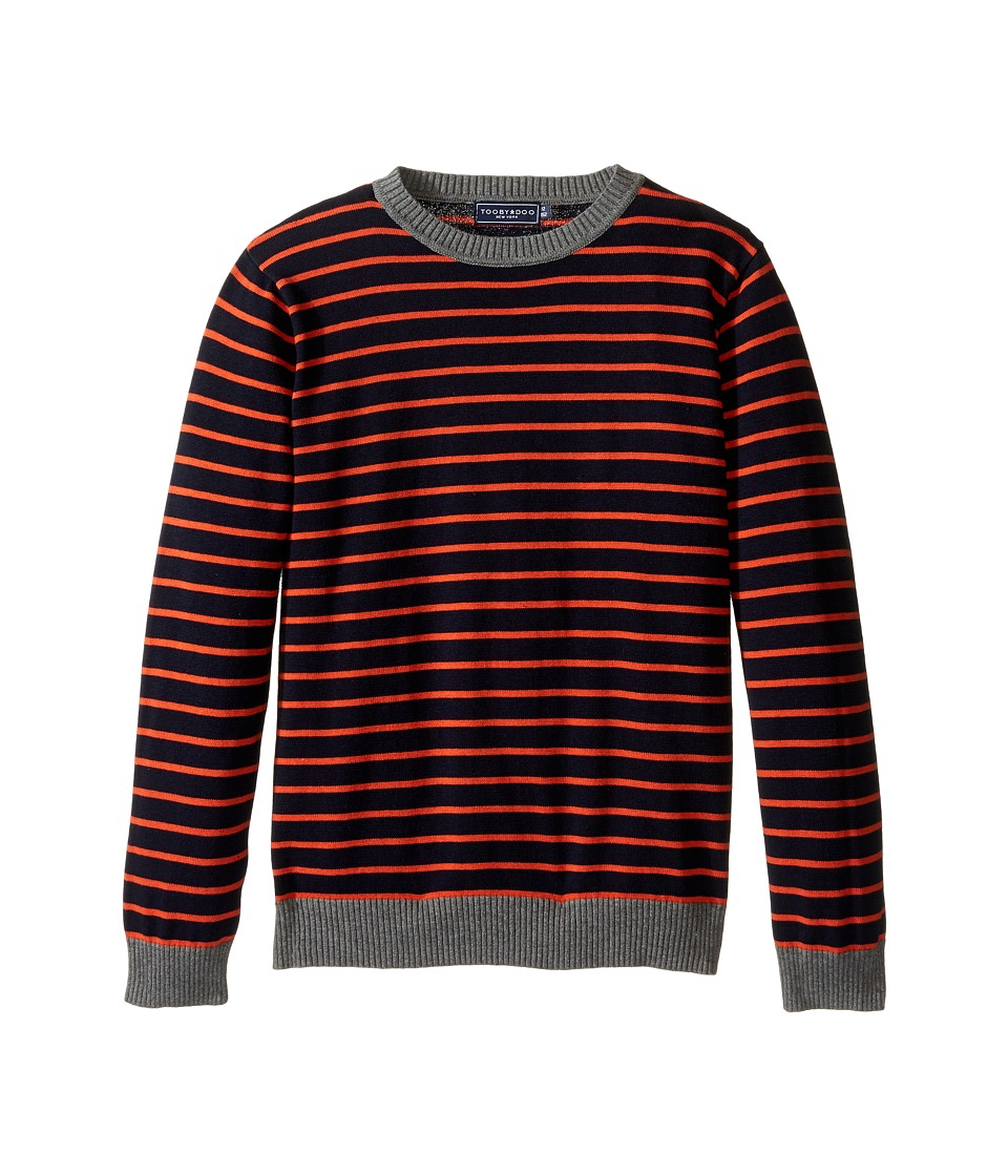 Toobydoo - Gavin Crew Neck Sweater (Toddler/Little Kids/Big Kids) (Navy/Orange) Boy's Sweater