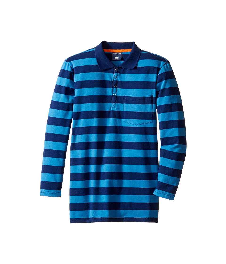Toobydoo - Blue Times Two Long Sleeve Polo (Toddler/Little Kids/Big Kids) (Navy/Cobalt Blue) Boy's Clothing